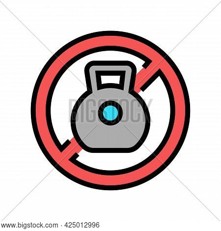Weight Prohibition Sign For Safe Children Color Icon Vector. Weight Prohibition Sign For Safe Childr