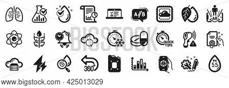 Set Of Science Icons, Such As 3d App, Electricity, Diagram Graph Icons. Engineering, Canister Oil, T