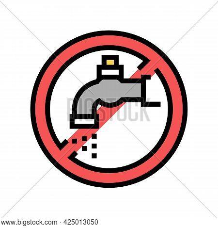 Water Faucet Children Safe Prohibition Sign Color Icon Vector. Water Faucet Children Safe Prohibitio