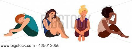 Set Of Depressed Young Unhappy Sitting Girls. Different Ethnicities Woman Concept Of Mental Disorder