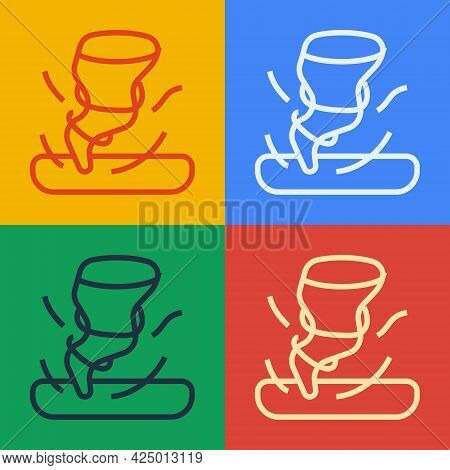 Pop Art Line Tornado Icon Isolated On Color Background. Cyclone, Whirlwind, Storm Funnel, Hurricane