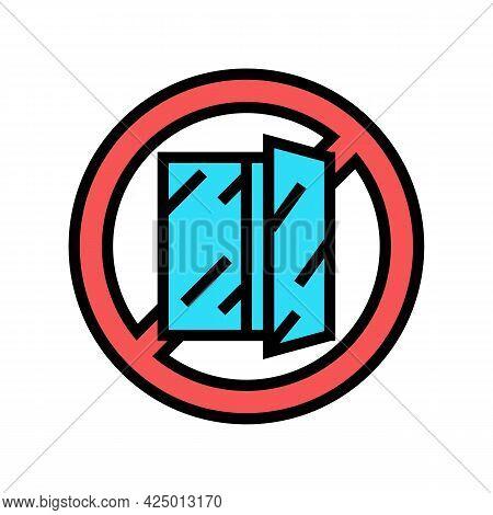 Open Window Prohibition Sign Color Icon Vector. Open Window Prohibition Sign Sign. Isolated Symbol I