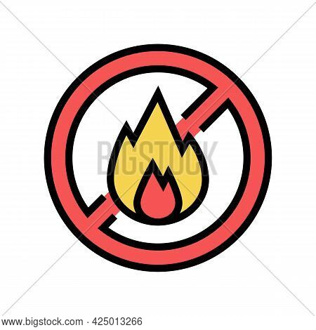 Fire Burning Prohibition Sign Color Icon Vector. Fire Burning Prohibition Sign Sign. Isolated Symbol
