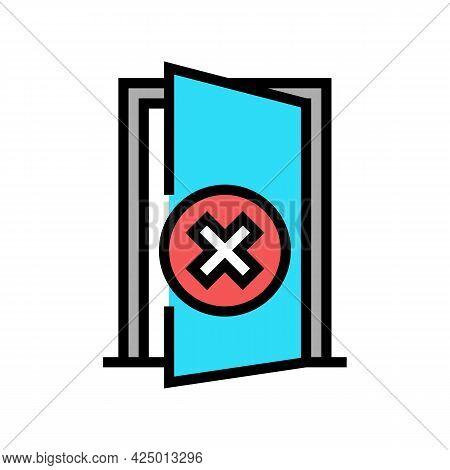 Open Door Prohibition For Safe Children Color Icon Vector. Open Door Prohibition For Safe Children S