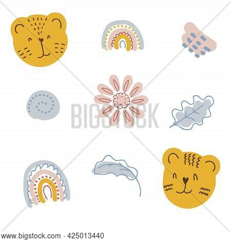 A Set Of Elements In Pastel Colors Tiger Muzzles, Flowers And Leaves. Perfect For Scrapbooking, Text