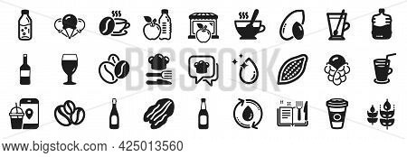 Set Of Food And Drink Icons, Such As Pecan Nut, Coffee Beans, Takeaway Coffee Icons. Coffee-berry Be