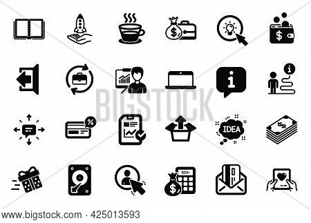 Vector Set Of Simple Icons Related To Salary, Cashback And Send Box Icons. Dollar, Presentation And