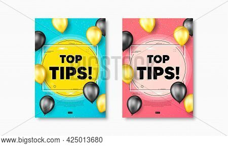 Top Tips Symbol. Flyer Posters With Realistic Balloons Cover. Education Faq Sign. Best Help Assistan