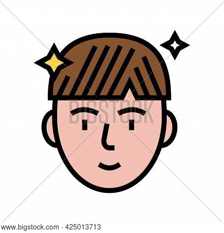 Man After Keratin Used Color Icon Vector. Man After Keratin Used Sign. Isolated Symbol Illustration