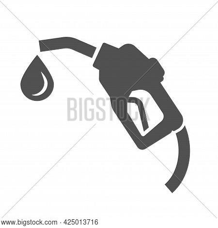 Monochrome Simple Filling Gun Icon Vector Flat Illustration. Logotype Gasoline Pump Nozzle With Drop