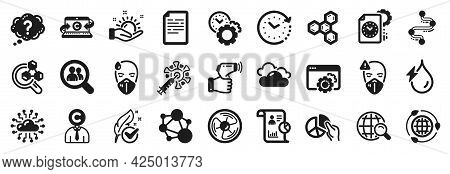 Set Of Science Icons, Such As Document, Pie Chart, Chemistry Lab Icons. Cloud Network, Time Change,
