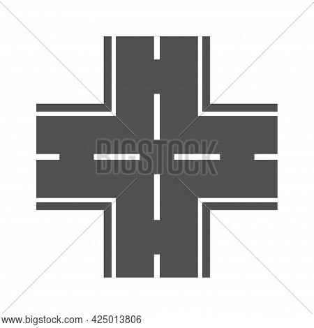 Monochrome Road Intersection Icon Vector Flat Illustration. Highway Transportation Infrastructure