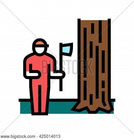 Lumberjack Chopping Wood Color Icon Vector. Lumberjack Chopping Wood Sign. Isolated Symbol Illustrat