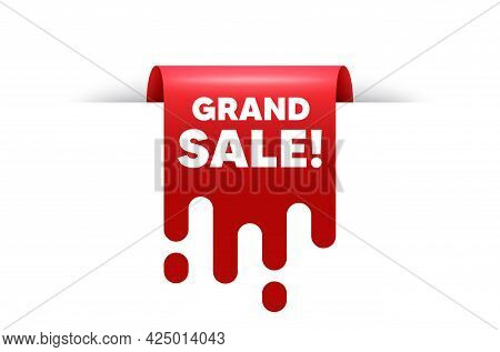 Grand Sale Text. Red Ribbon Tag Banner. Special Offer Price Sign. Advertising Discounts Symbol. Gran