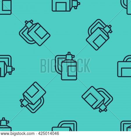 Black Line Garden Sprayer For Water, Fertilizer, Chemicals Icon Isolated Seamless Pattern On Green B