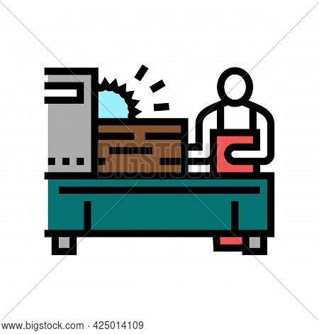 Worker Cutting Wooden Timber With Sawmill Machine Color Icon Vector. Worker Cutting Wooden Timber Wi
