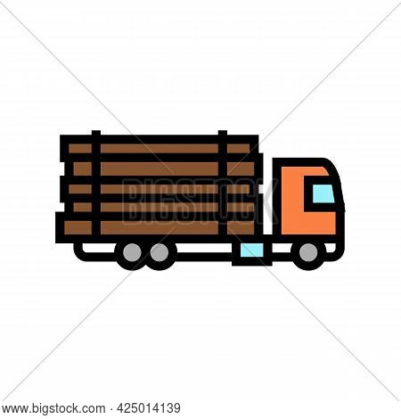 Truck Transportation Wood Timber Color Icon Vector. Truck Transportation Wood Timber Sign. Isolated