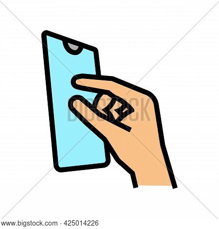 Zooming Photo On Smartphone Screen Color Icon Vector. Zooming Photo On Smartphone Screen Sign. Isola