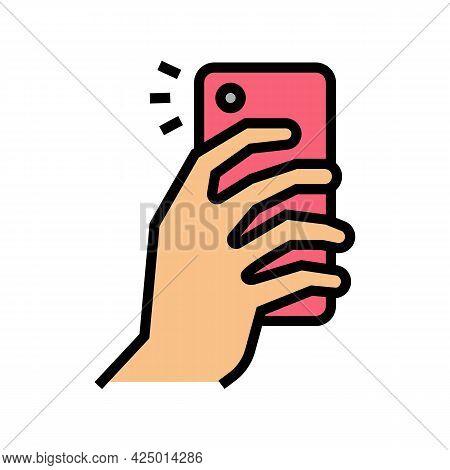 Making Photo On Smartphone Camera Color Icon Vector. Making Photo On Smartphone Camera Sign. Isolate