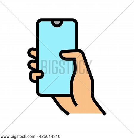 Finger Swiping On Phone Screen Color Icon Vector. Finger Swiping On Phone Screen Sign. Isolated Symb