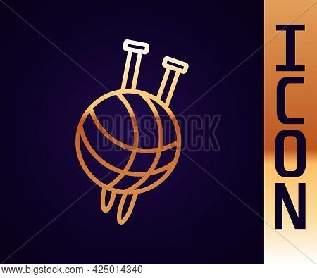 Gold Line Yarn Ball With Knitting Needles Icon Isolated On Black Background. Label For Hand Made, Kn