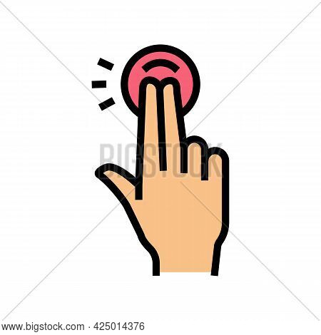Double Tap With Fingers On Smartphone Screen Color Icon Vector. Double Tap With Fingers On Smartphon