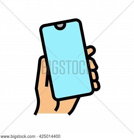 Smartphone Gadget In Hand Color Icon Vector. Smartphone Gadget In Hand Sign. Isolated Symbol Illustr