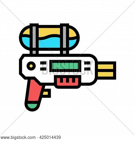 Water Gun For Summer Game Color Icon Vector. Water Gun For Summer Game Sign. Isolated Symbol Illustr