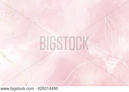 Abstract Dusty Rose Blush Liquid Watercolor Background With Gold, Floral Decoration Elements. Pastel