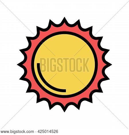 Shining Sun Summer Color Icon Vector. Shining Sun Summer Sign. Isolated Symbol Illustration