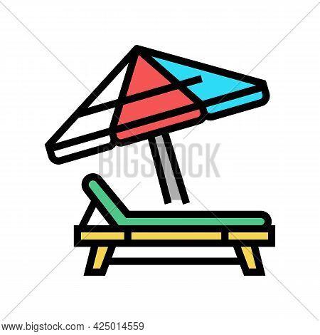 Deck Chair With Umbrella Color Icon Vector. Deck Chair With Umbrella Sign. Isolated Symbol Illustrat