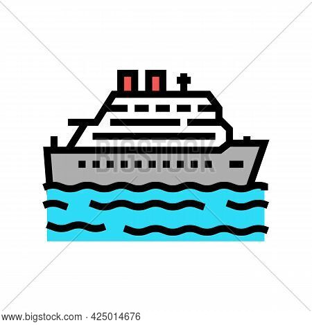 Cruise Summer Vacation Color Icon Vector. Cruise Summer Vacation Sign. Isolated Symbol Illustration