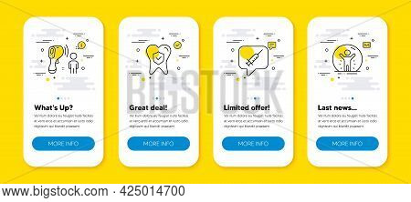 Vector Set Of Vaccine Message, Dental Insurance And Electronic Thermometer Line Icons Set. Ui Phone