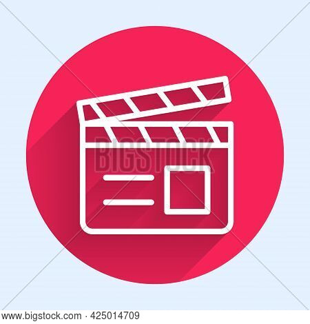 White Line Movie Clapper Icon Isolated With Long Shadow. Film Clapper Board. Clapperboard Sign. Cine