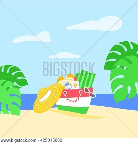 Summer Vacation Concept. Summer Bag With Beach Stuff In The Sand And Palm Leaves On Tropical Island.