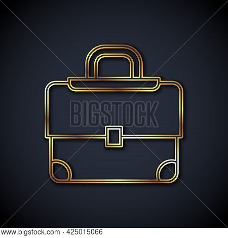 Gold Line Briefcase Icon Isolated On Black Background. Business Case Sign. Business Portfolio. Vecto
