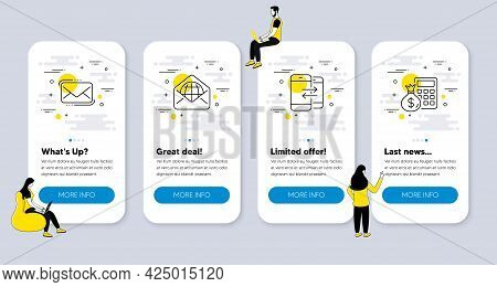 Vector Set Of Line Icons Related To Phone Communication, Web Mail And Messenger Mail Icons. Ui Phone