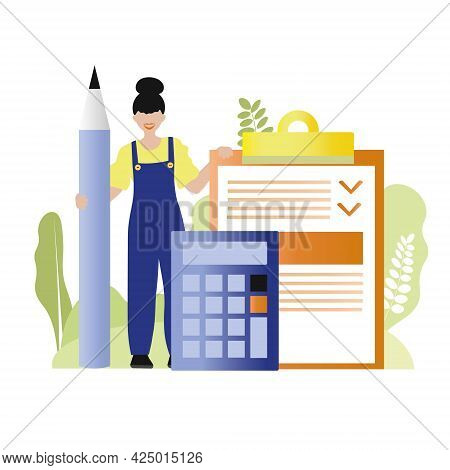 Icon, Vector Illustration On The Topic Of Calculating The Cost And Estimates In Construction. Girl I