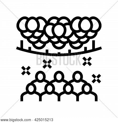Surprise Party Decorated Balloon Line Icon Vector. Surprise Party Decorated Balloon Sign. Isolated C