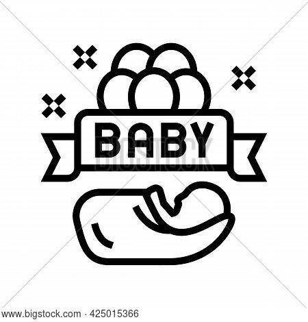 Baby Born Celebration Balloons Line Icon Vector. Baby Born Celebration Balloons Sign. Isolated Conto