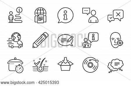 Business Icons Set. Included Icon As Reject, Problem Skin, Delivery Service Signs. Boiling Pan, Viny