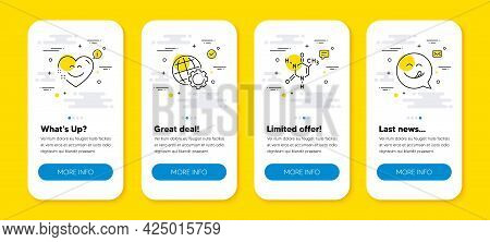 Vector Set Of Smile Chat, Globe And Chemical Formula Line Icons Set. Ui Phone App Screens With Line