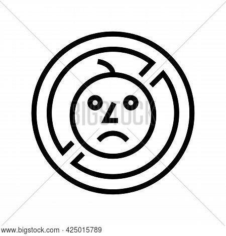 Child Prohibition Sign Line Icon Vector. Child Prohibition Sign Sign. Isolated Contour Symbol Black
