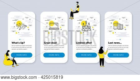 Vector Set Of Business Icons Related To Salary Employees, Airplane And Laptop Icons. Ui Phone App Sc