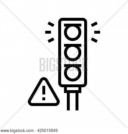 Prohibition Traffic Light For Safe Children Line Icon Vector. Prohibition Traffic Light For Safe Chi