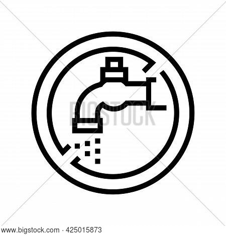 Water Faucet Children Safe Prohibition Sign Line Icon Vector. Water Faucet Children Safe Prohibition
