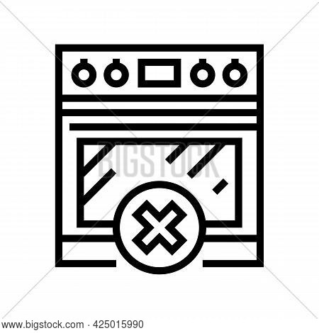 Using Stove Prohibition For Children Line Icon Vector. Using Stove Prohibition For Children Sign. Is