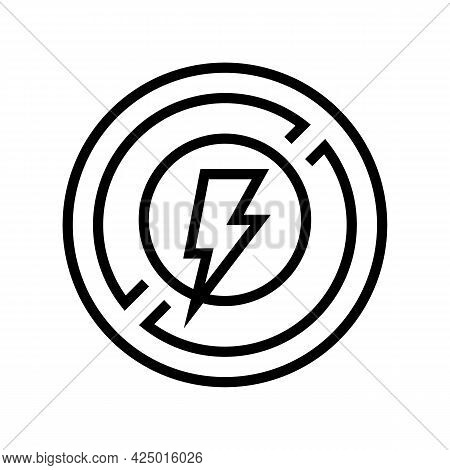 Lightning Prohibition Sign Line Icon Vector. Lightning Prohibition Sign Sign. Isolated Contour Symbo