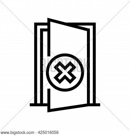 Open Door Prohibition For Safe Children Line Icon Vector. Open Door Prohibition For Safe Children Si