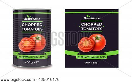 Realistic Detailed 3d Canned Tomatoes Can And Label Set. Vector